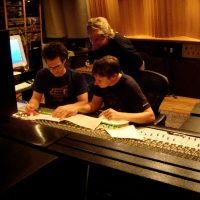 Engineer Steve Kaplan and Lead Trumpet Jon Papenbrook at the Dialmentia sessions
